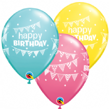 Birthday Pennants & Dots - 11 Inch Balloons 25pcs